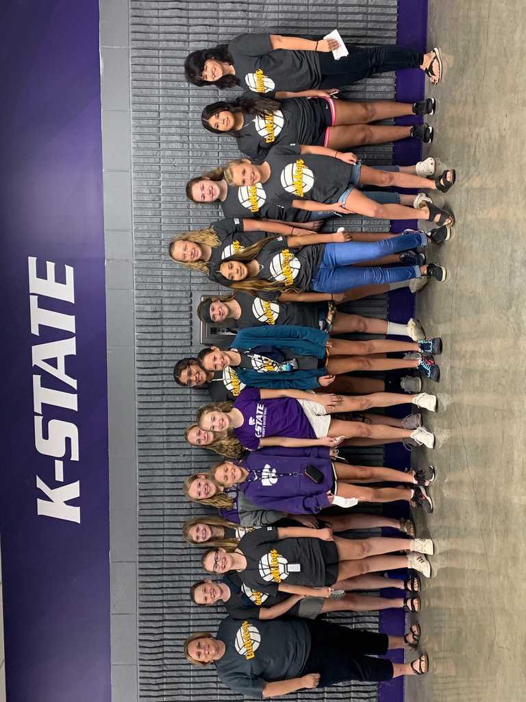 Jr high team watching KSU volleyball team defeat Iowa State.
