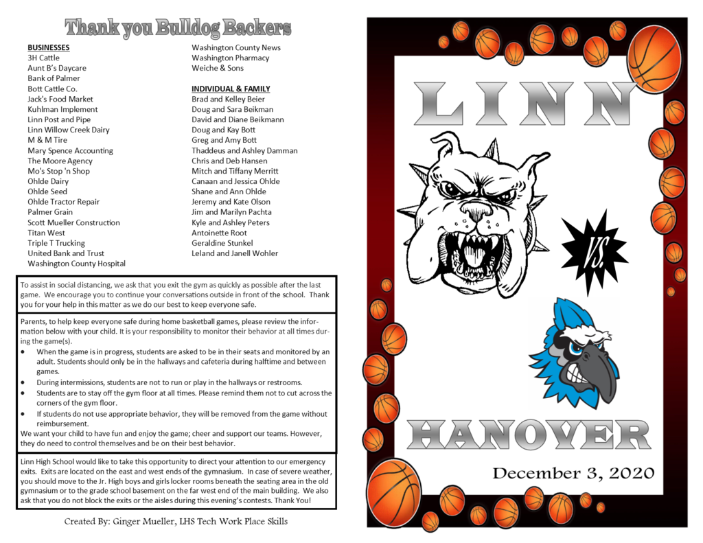 Program Page 1 - Linn vs. Hanover Dec. 3, 2020