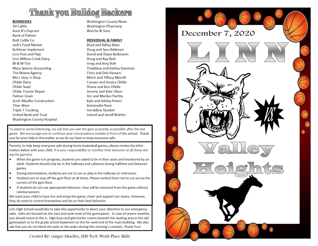 Program Page 1 - Linn vs. Valley Heights Dec. 7, 2020