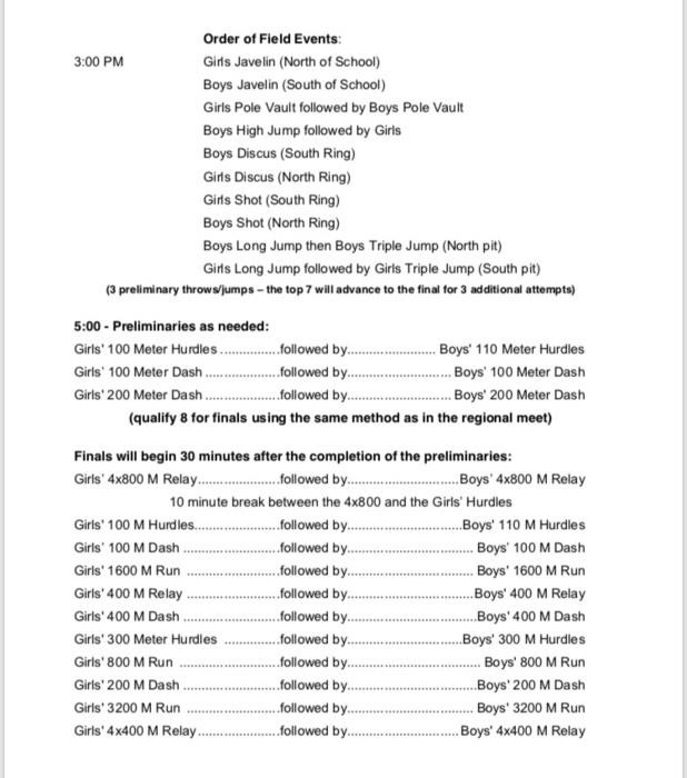 TVL Track Meet Schedule of Events