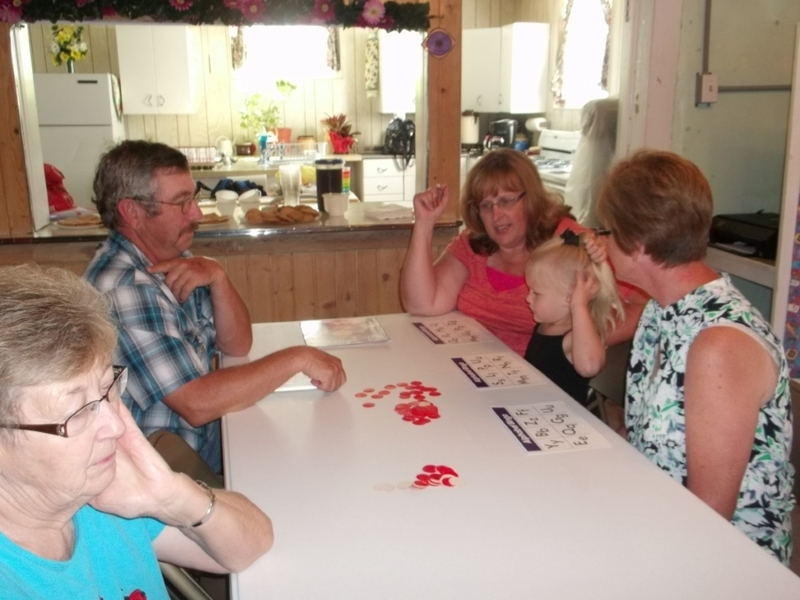 Family playing a game.
