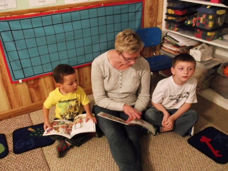 Preschool classes reading with their families
